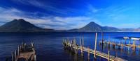 Piers extending into Lake Atitlan